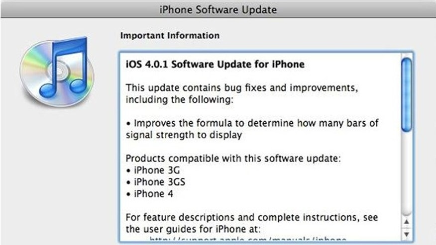 "A just released software patch for the iPhone updates the system software to version 4.0.1, which ""improves"" the way the iPhone displays signal strength."