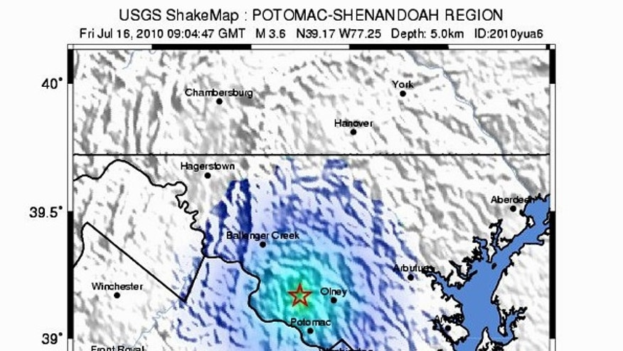 "A ""shakemap"" from the USGS shows the magnitude 3.6 earthquake that rumbled D.C."