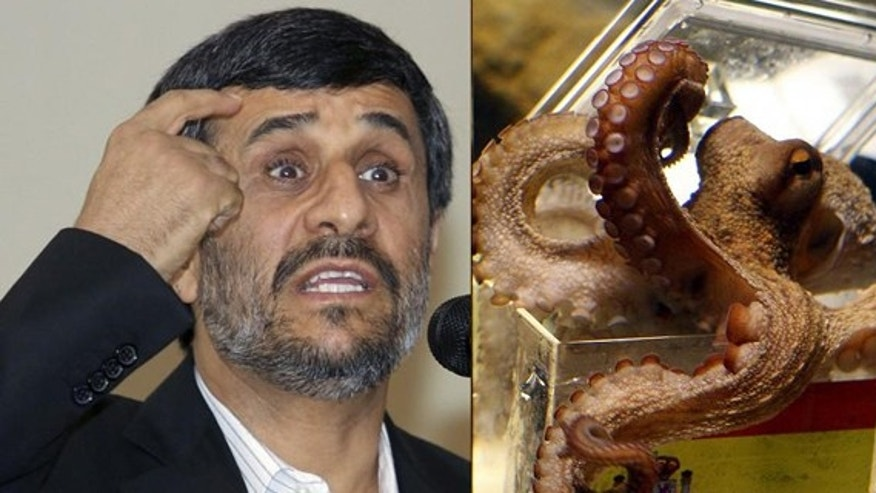 Outspoken Iranian president accused Paul the Octopus in speech of spreading western propaganda.