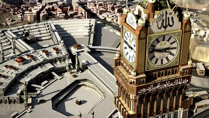 A four-faced clock atop the Abraj Al-Bait Towers in Mecca, Saudi Arabia, stands over a holy plaza. Saudi Arabia called it the world's largest clock.