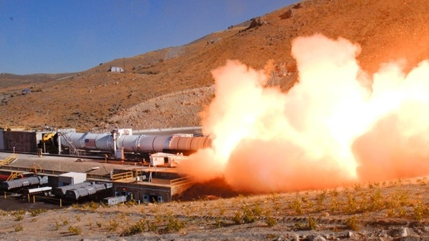 Development Motor-2 is the largest and most powerful solid rocket motor designed for flight. This Aug. 31 static test was conducted by ATK Aerospace Systems in Promontory, Utah.
