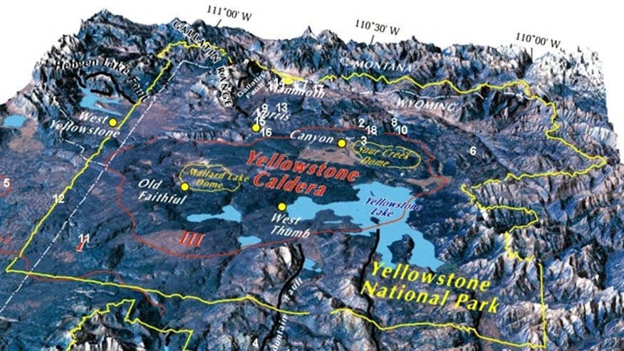 A map of the Yellowstone Caldera reveals geological features beneath the National Park.