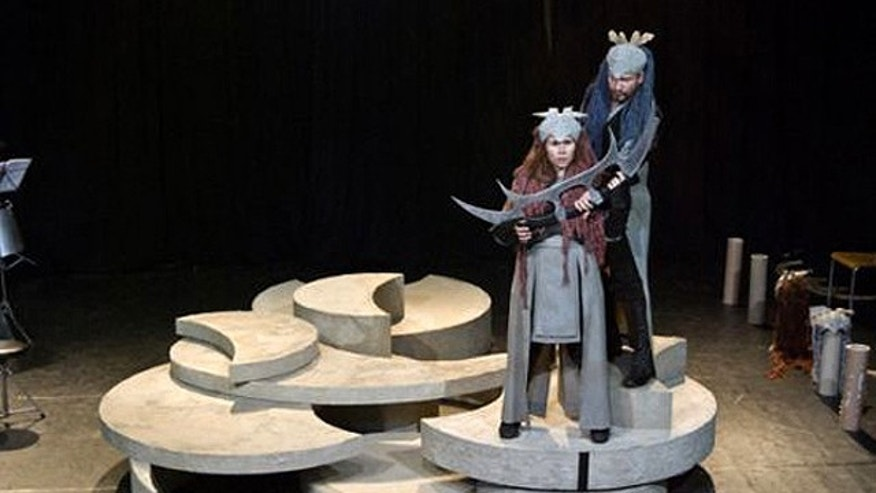 The first opera ever to be completely sung in the invented Klingon language makes its debut in the Hague. This image was taken during rehearsals for the Klingon opera.