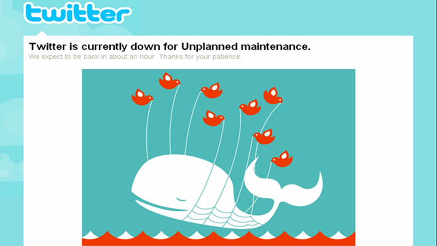 "A familiar site for many Twitter users: the site's so called ""Fail Whale,"" posted when there is a service disruption or the site is over capacity."