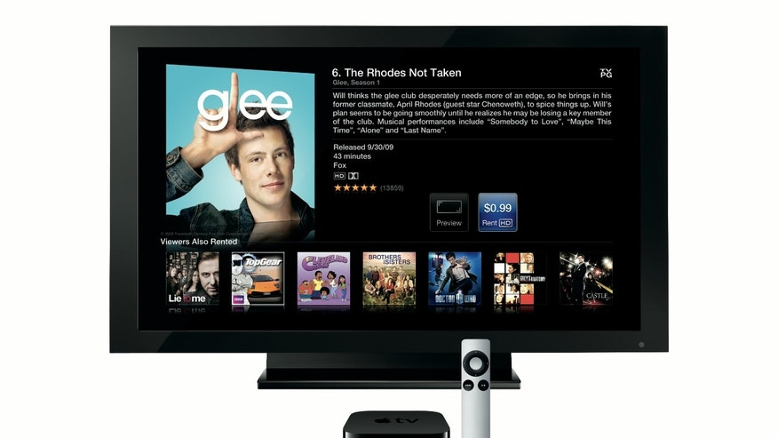 Apple TV streams high-definition web videos from your home PCs to your television.