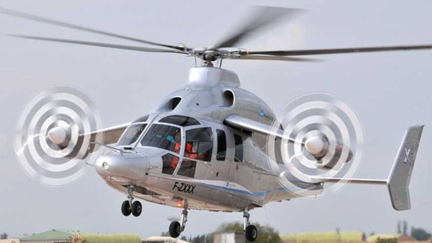 The Eurocopter's X3 high-speed hybrid helicopter demonstrator is seen at the Istres flight testing center, September 27, 2010. The X3 protoype, which combines forward-facing propeller engines astride two short aircraft wings with overhead rotor blades, was unveiled at the European company's factory in southern France following months of secrecy about the project.