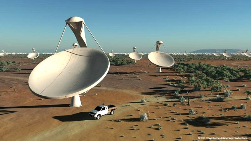 An artist's interpretation of the Square-Kilometer Array, a huge radio telescope currently under development in Australia.