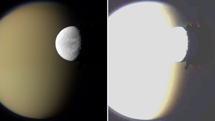 The NASA image of Saturn's moons Dione and Titan, left, and the high-contrast version showing black Photoshop marks at far right.