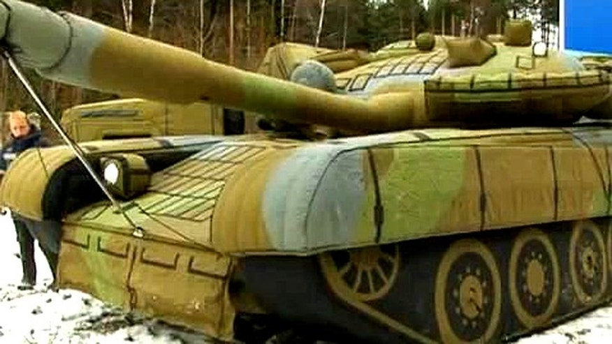 One of Russia's inflatable tanks in action.