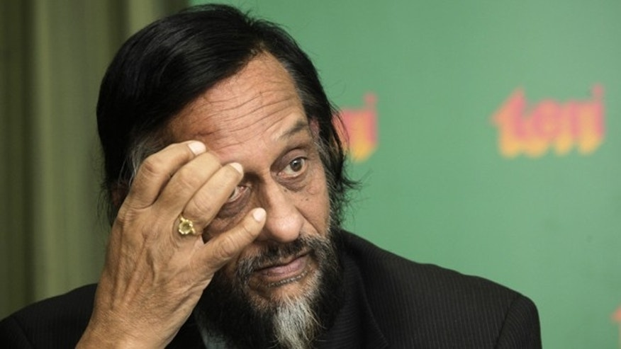 U.N. Intergovernmental Panel on Climate Change (IPCC) head Rajendra Pachauri looks on at a press conference in New Delhi, India.