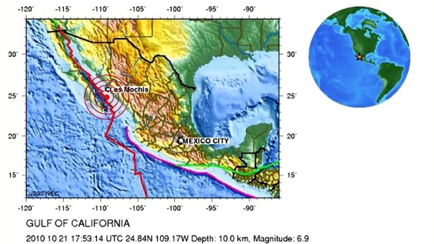 An earthquake shook Mexico's Baja California, as shown in this color-coded elevation map from the U.S. Geological Survey.