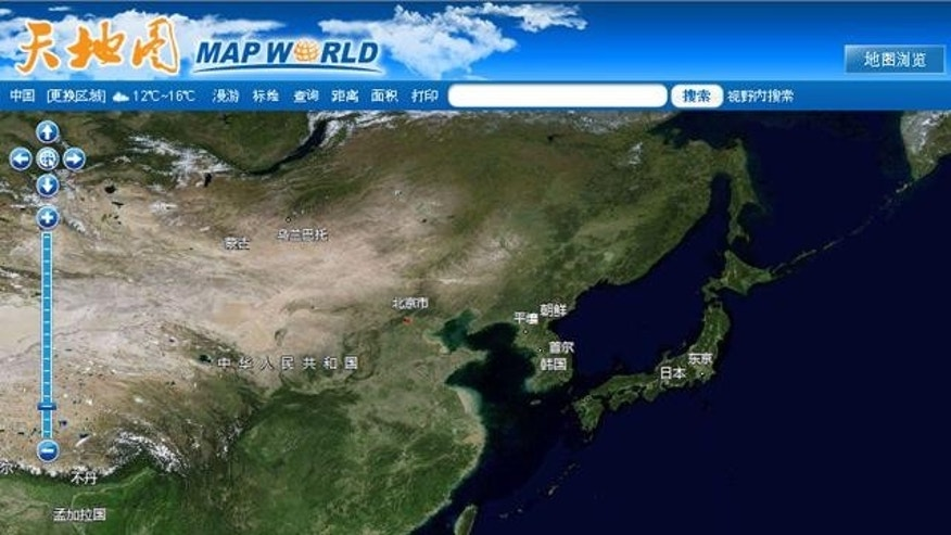 "A screenshot of China's ""Map World,"" the country's home-grown answer to Google's popular Earth satellite mapping app."