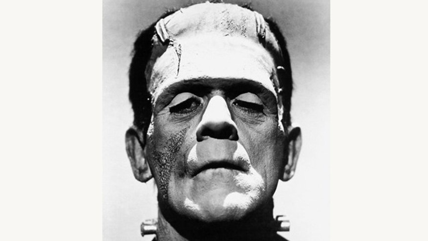 "A photo of Boris Karloff from the film ""The Bride of Frankenstein"" as Frankenstein's monster."