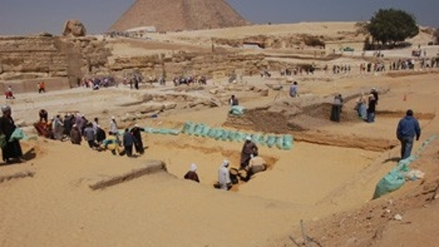 The excavation trench outside Khafre's valley temple at Giza.