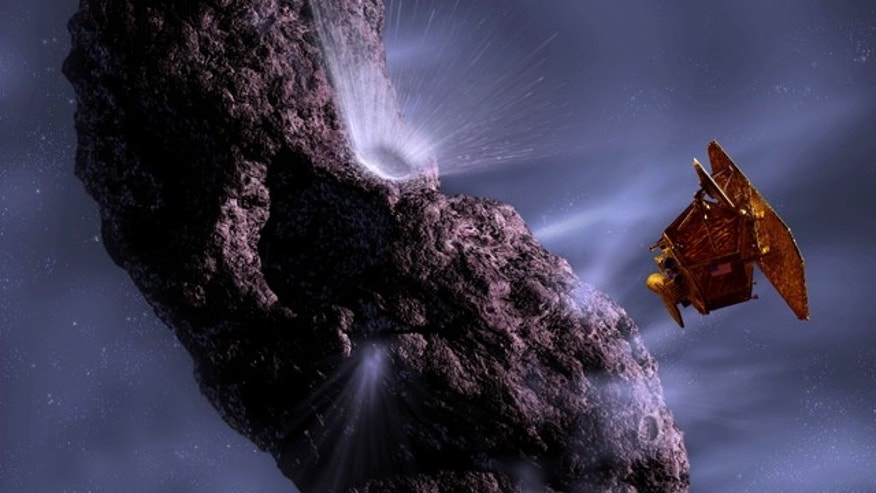 This artist's concept shows us the first time Deep Impact encountered a comet -- Tempel 1 in July 2005. Deep Impact, now in an extended mission called EPOXI, will fly by its next comet, Hartley 2, on Nov. 4, 2010.