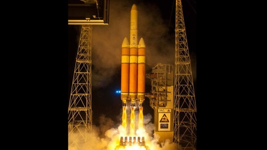A United Launch Alliance Delta 4 Heavy launches with a National Reconnaissance Office payload NROL-32 from Space Launch Complex-37 at 5:58 p.m. EST (2258 GMT).