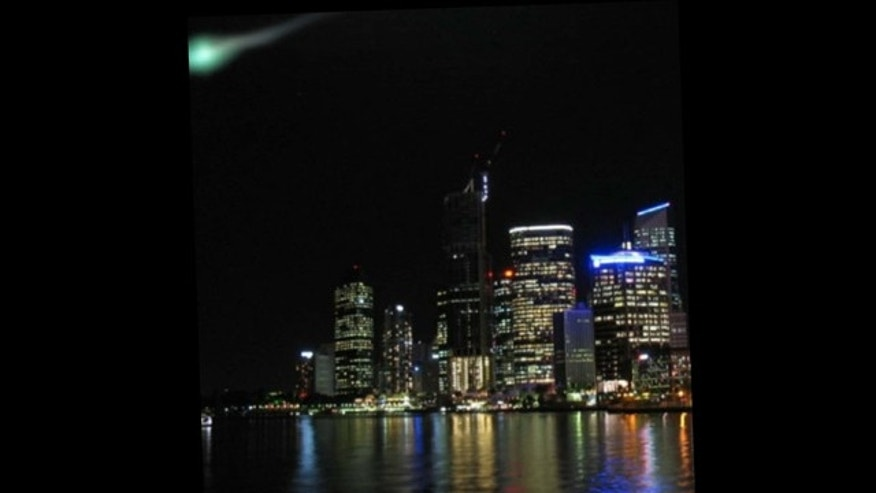 Green fireballs seen in the Australian sky were captured in photos, this one taken by a member of the public in Brisbane.