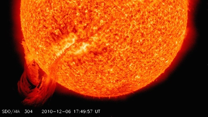 This huge tendril of magnetic plasma erupted from the sun on Dec. 6, 2010. In this photo from NASA's Solar Dynamics Observatory, the filament stretches across nearly 700,000 km of the sun's surface.
