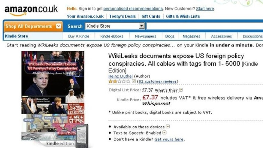 A screen capture of a controversial new book for sale on Amazon, containing the stolen cables published to WikiLeaks.