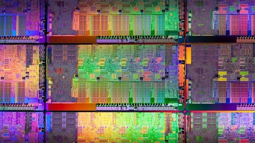 "A die shot of an Intel CPU, codenamed ""Sandy Bridge,"" which promised the biggest-ever leap in processing power."