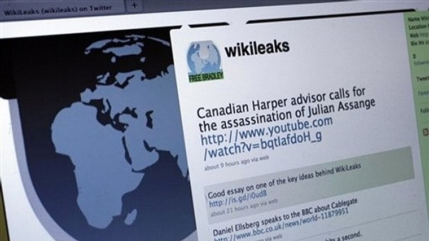 Dec. 1: The Twitter homepage of Wikileaks is shown in this photo taken in New York.