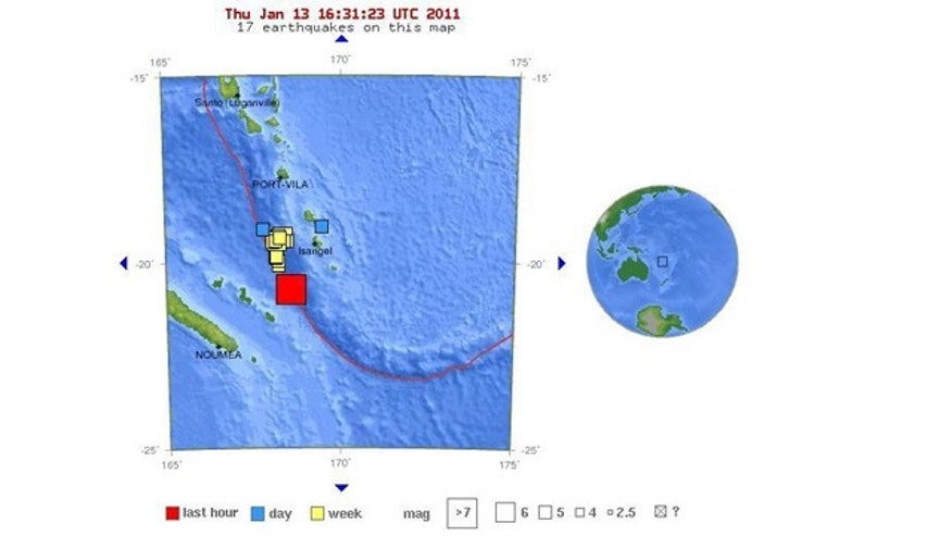 A map of the earthquake's location in the Pacific, from the U.S. Geological Survey.