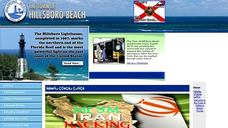 The unassuming Website for the town of Hillsboro Beach, Florida, appears to have been attacked by Iranian hackers.