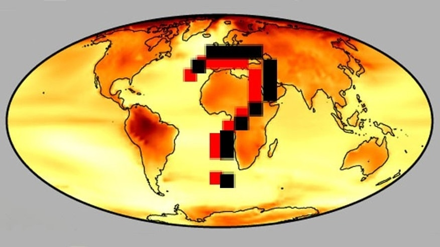 The predicted temperature changes (darker red indicating greater change) due to global warming, based on data that scientists, policymakers and the public are now questioning.