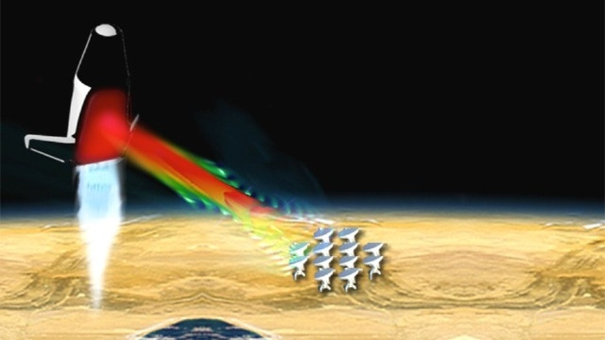 A conceptual microwave-propelled lightcraft receives microwave beams from an array of microwave sources on the ground.