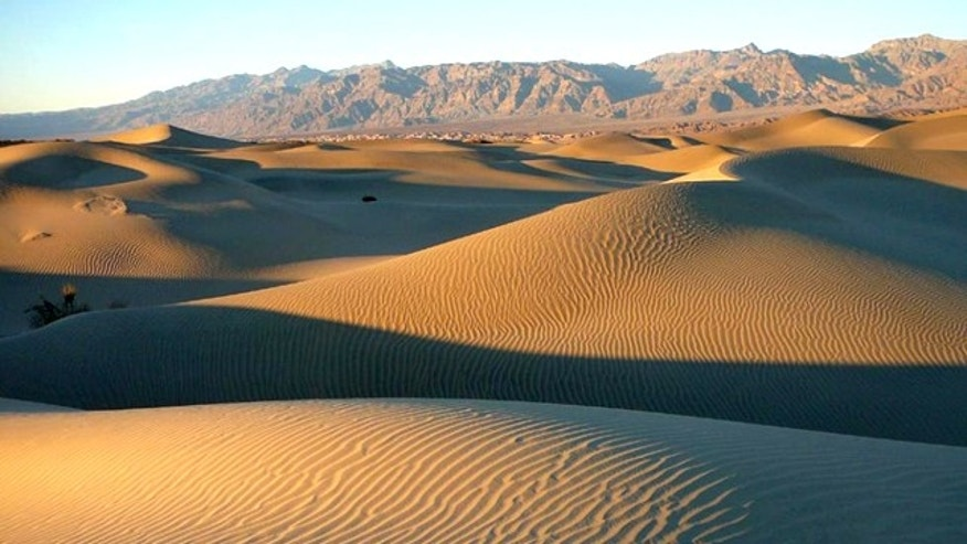 Late afternoon on Mesquite Flat Sand Dunes in Death Valley National Park -- a dangerous place to be lost.