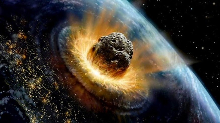 An artist's conception of an asteroid crashing into Earth.