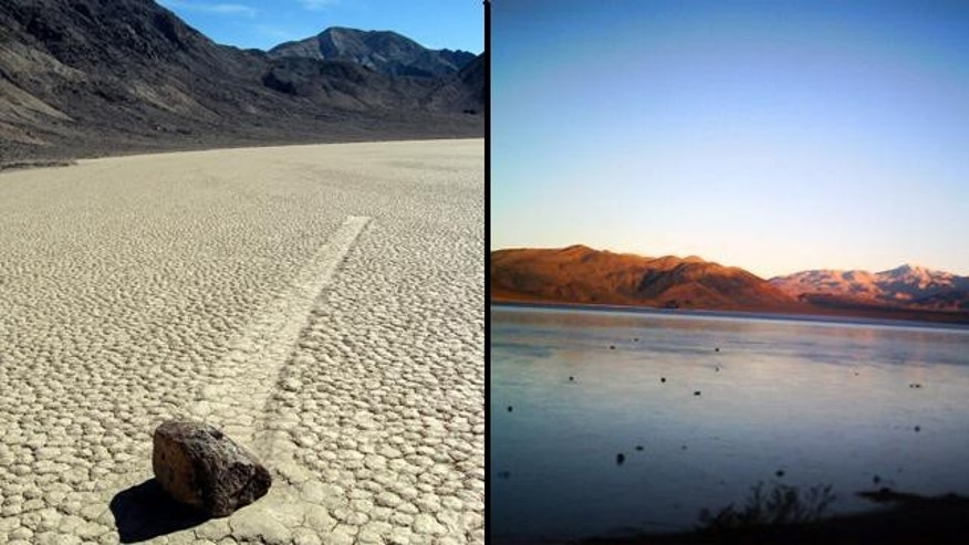 "The track left from a ""self-moving"" rock (left), found in Racetrack Playa, a dry lakebed in Death Valley, Calif. (pictured at right)."
