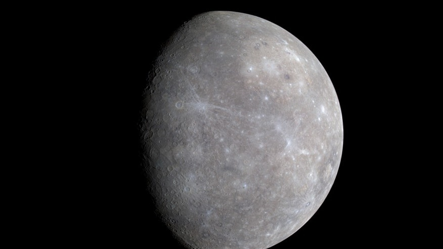Color differences on Mercury are subtle, but they reveal important information about the nature of the planet's surface material. A number of bright spots with a bluish tinge are visible in this image taken by MESSENGER on Jan. 14, 2008, which is a mosaic from three different images.