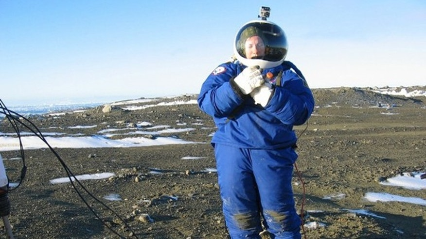 Argentine aerospace engineer Pablo de Leon, a NASA team member, tests a space suit designed for possible use in Mars at Argentina's Marambio base in Antarctica. The NDX-1 space suit, designed by De Leon, endured frigid temperatures and winds of more than 47 mph (75 kph) as researchers tried out techniques for collecting soil samples on Mars.The $100,000 prototype suit, created with NASA funds, is made out of more than 350 materials, including tough honeycomb Kevlar and carbon fibers to reduce its weight without losing resistance.