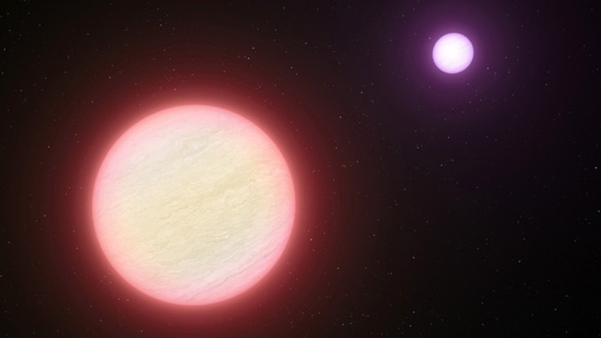 This artists impression shows the pair of brown dwarfs named CFBDSIR 1458+10. Observations with ESOs Very Large Telescope and two other telescopes have shown that this pair is the coolest pair of brown dwarfs found so far. The two components are both about the same size as the planet Jupiter.