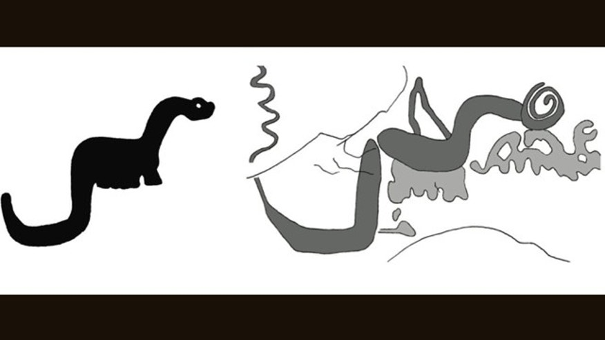 "An image of a ""dinosaur"" from Kachina Bridge that scientists nicknamed Sinclair, as depicted by a young-Earth creationist (left) and as illustrated by scientists (right). The dark shading on the line drawing represents human engravings, while the light shading represents natural mud stains."