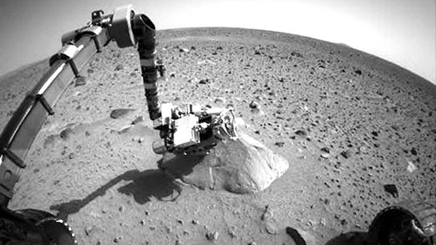 This file photo taken Jan. 28, 2004, shows NASA's Exploration Rover Spirit when communication problems began.