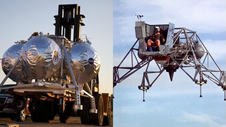 At left, engineers with Project Morpheus prepare for cryogenic nitrogen testing at NASA's Johnson Space Center. At right, NASA tests a Lunar Landing Research Vehicle in 1967, as preparation for the Apollo mission.