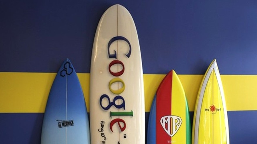 Surfboards lean against a wall at the Google office in Santa Monica, California.