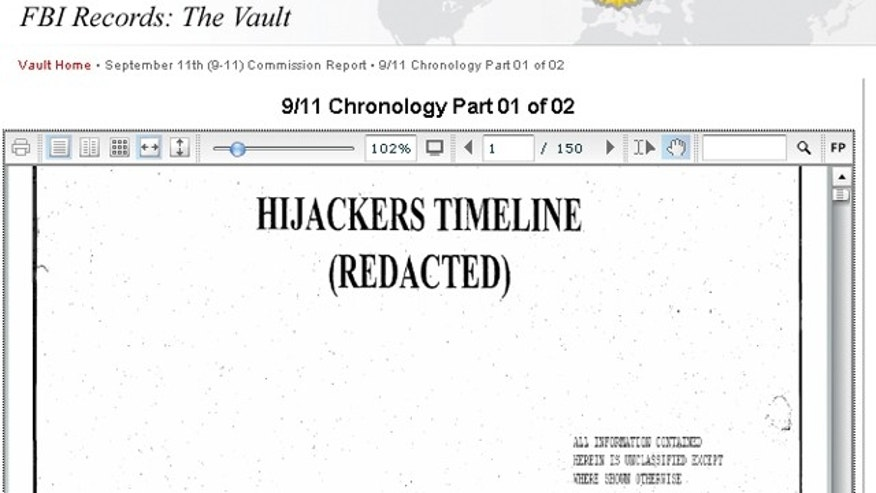 Included within the FBI's 'Vault' is the 'Hijackers Timeline,' a 150-page spreadsheet detailing the Sept. 11 hijackers and their associates. Beginning with Mohamed Atta, who crashed American Airlines Flight 11 into the North Tower of the World Trade Center, the document lists each subject's country of origin, date of birth and tracks every known movement they made leading up to the terrorist attacks that killed nearly 3,000 people. (FBI.gov)