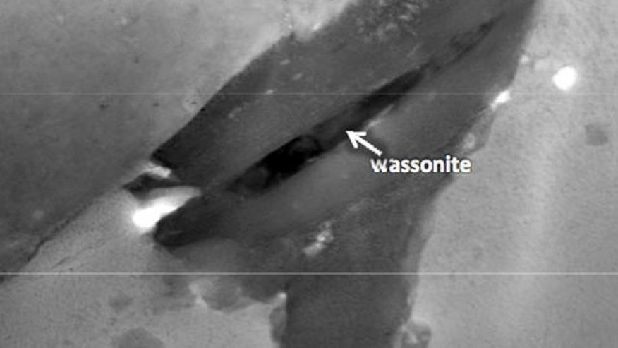 This scanning transmission electron microscope image shows the Wassonite grain in dark contrast.