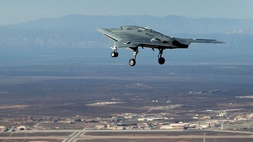 The very autonomous X-47B in flight.