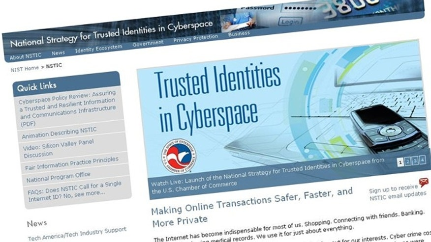 A screenshot of the website for the National Strategy on Trusted Identities in Cyberspace, which aims to create online IDs that will boost privacy and security online.