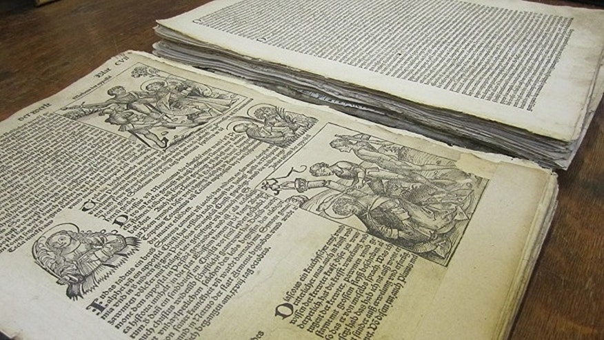 April 23: A copy of the Nuremberg Chronicle published in 1493 is displayed at Ken Sanders Rare Books in Salt Lake City.
