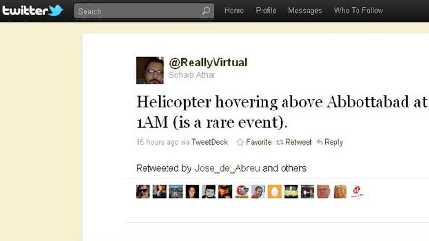 A screen shot of the Twitter feed for @ReallyVirtual, a Pakistani citizen who unwittingly Tweeted the details of the raid that killed Usama bin Laden.