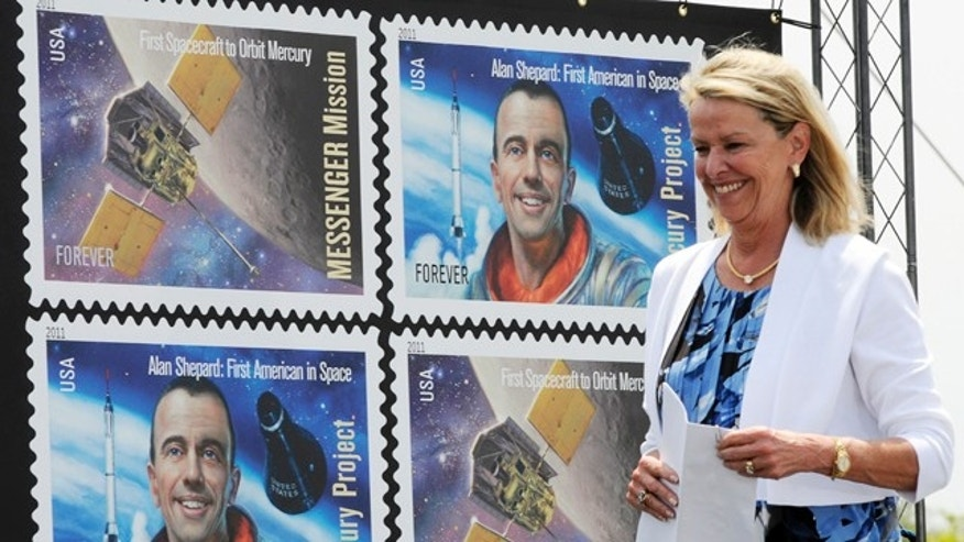 May 4, 2011: Julie Jenkins, daughter of Alan Shepard, attends the dedication ceremony of Mercury Project/Messenger Mission stamp at Kennedy Space Center Visitor Complex. The Postal Service dedicated the stamp  to mark the 50th anniversary of Shepard's suborbital flight, Freedom 7.