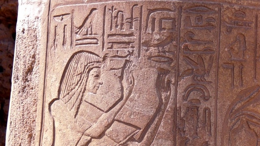Carvings dot a column in the tomb of Horemheb, which will open to the public for the first time on Monday, May 23.