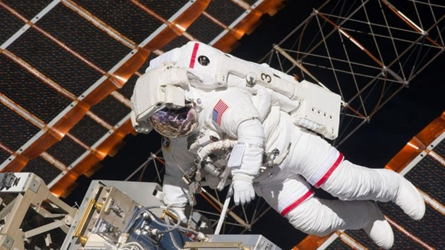 May 20, 2011: NASA astronaut Andrew Feustel floats in space on the first spacewalk of STS-134.