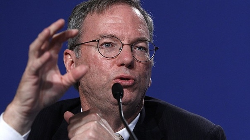 May 27: Eric Schmidt of Google gestures during a press conference that took place at the G8 summit in Deauville, France.