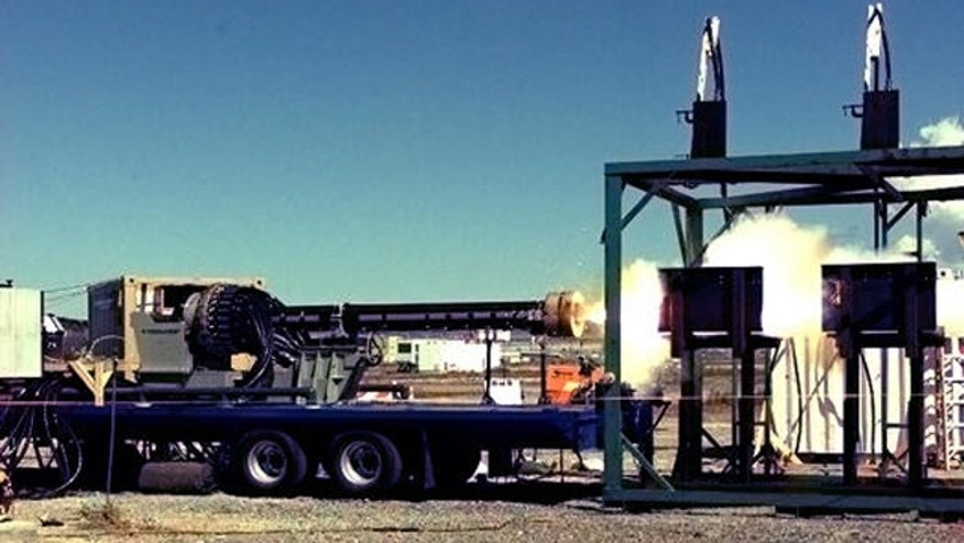 General Atomics tests the Blitzer railgun, a prototype weapon that fires slugs propelled by electromagnets rather than explosions.